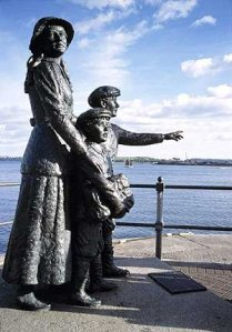 The emigration from Ireland to America is an historical fact.  The way contemporary sculpture represents it is part of our heritage
