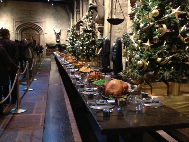 The Great Hall at Hogwarts set for the Christmas feast - with stunning, immaculate attention to detail.